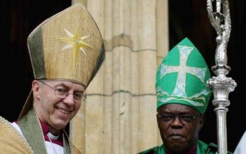 Archbishop of York John Sentamu, (R) and the Archbishop of Canterbury Justin Welby