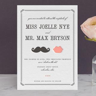 Stache Kiss Letterpress Wedding Invitations