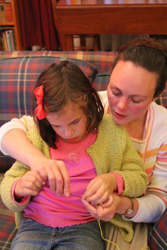 Aunt Cindy teaching Anna to crochet!