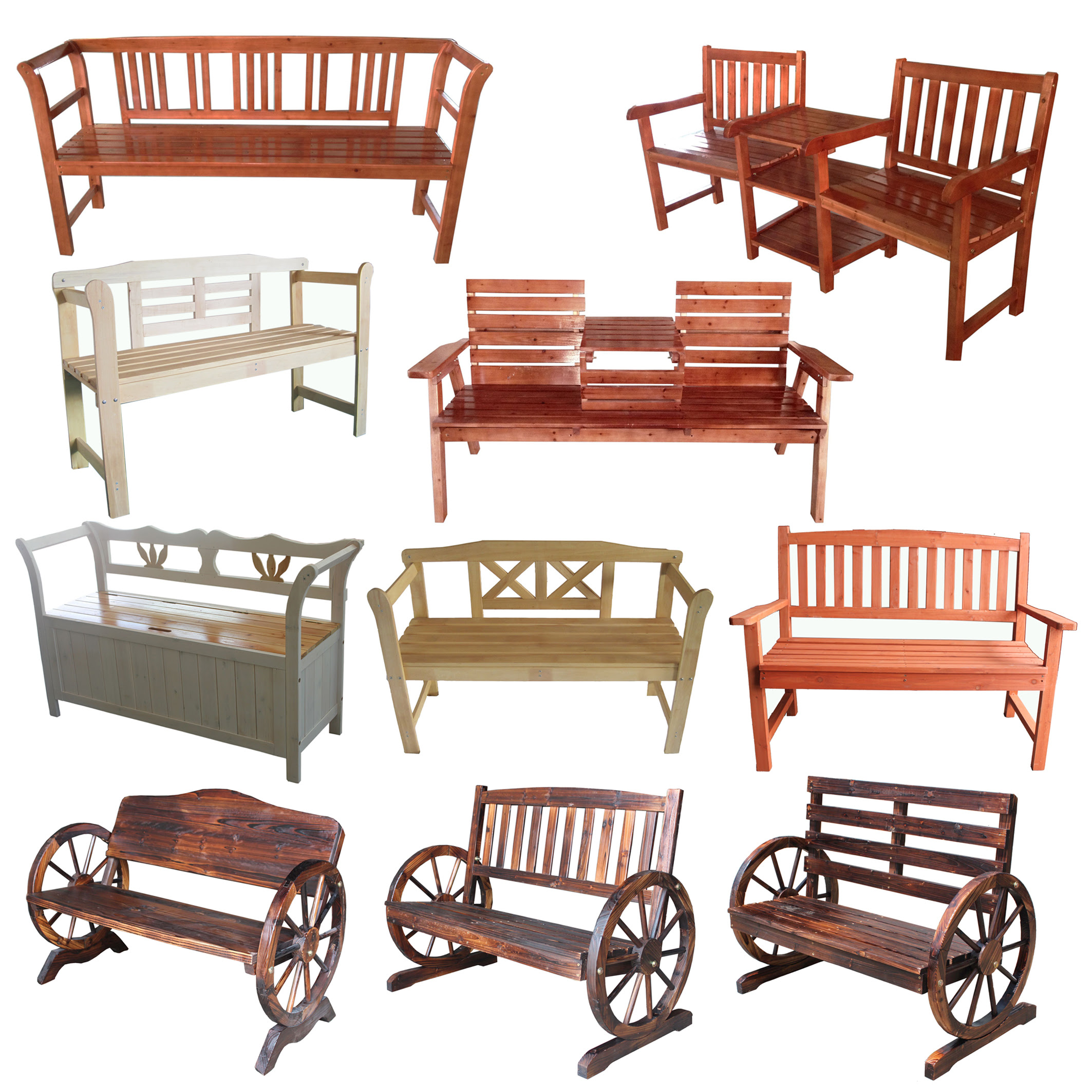 FoxHunter 2/3 Seater Wooden Bench Chair Table Outdoor ...