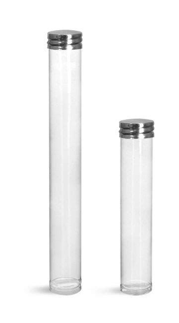 Clear Plastic Round Tube w/ Silver Metal Screw Threaded
