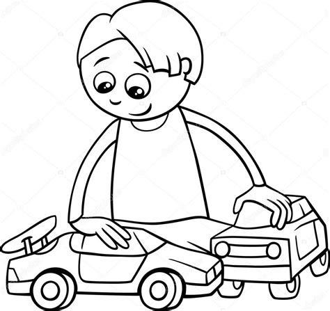 cocuk ve oyuncak arabalar boyama kitabi stok vektoer