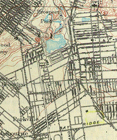 Detail, 1888 USGS Survey Map of Brooklyn