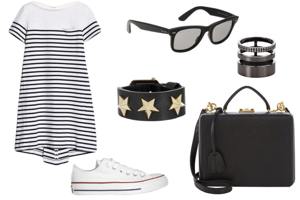 Sacai Luck Striped Cotton Jersey Mini Dress, $315; net-a-porter.comConverse Chuck Taylor All Star canvas sneakers, $50; net-a-porter.com Givenchy Star black leather bracelet, $530; net-a-porter.com    Ray-Ban Original Wayfarer, $205; barneys.com    Repossi Pavé Diamond & Black Gold Berbère Module Cage Ring, $7,540; barneys.com    Mark Cross Large Grace Trunk Bag, $2,495; barneys.com