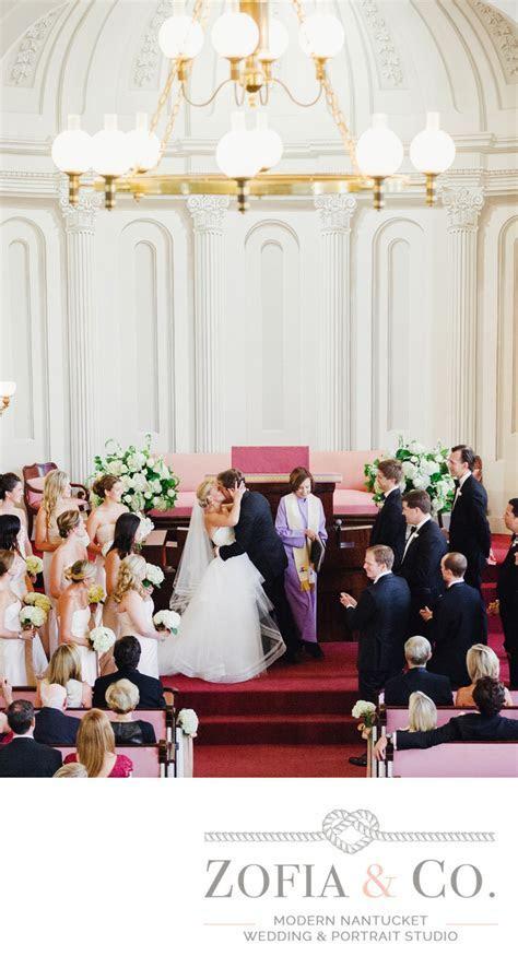 unitarian church wedding ceremony first kiss   Nantucket