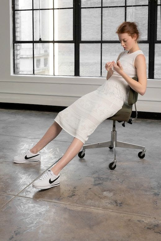 Le Fashion Blog A L C Pre Fall 2016 Collection Sleeveless White Knee Length Dress White Nike Sneakers Via Vogue