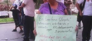 Las personas en la Ciudad Capital exige justicia frente al Ministerio de Gobernación, ente represor de los pueblos.  Foto: Jovita Tzul.