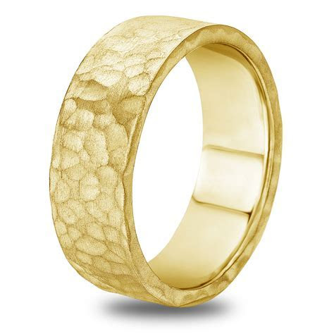 14K 18K White or Yellow Gold Hammered Finish Mens Wedding