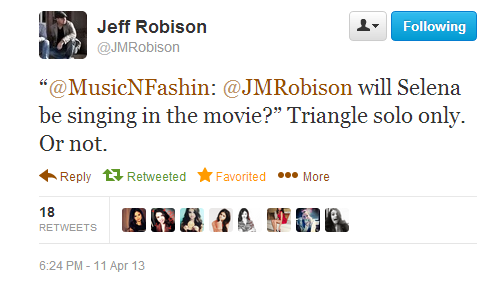Jeff Robison on whether Selena Gomez will sing in her new movie'Rudderless'.