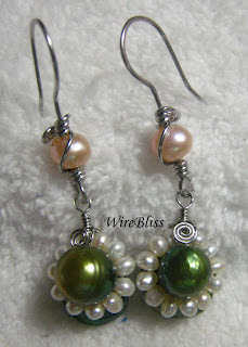 Wire Wrapped Pearl Earrings