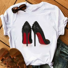 Newest watercolor high heels shoes print vogue  femme funny t shirt