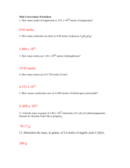 Mole Conversions Worksheet  CRHS