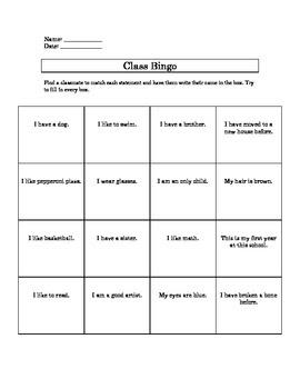 Class Bingo Game Card