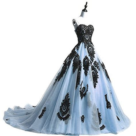 Black Lace Long Tulle A Line Prom Dresses Evening Party