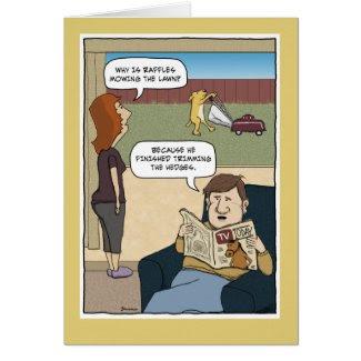 Funny birthday card: Dog mower