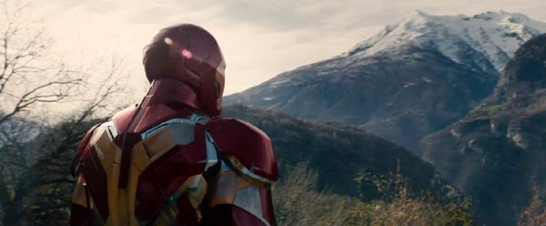 Tony Stark (Robert Downey Jr.) dons the Iron Man suit once more in 2015's AVENGERS: AGE OF ULTRON.