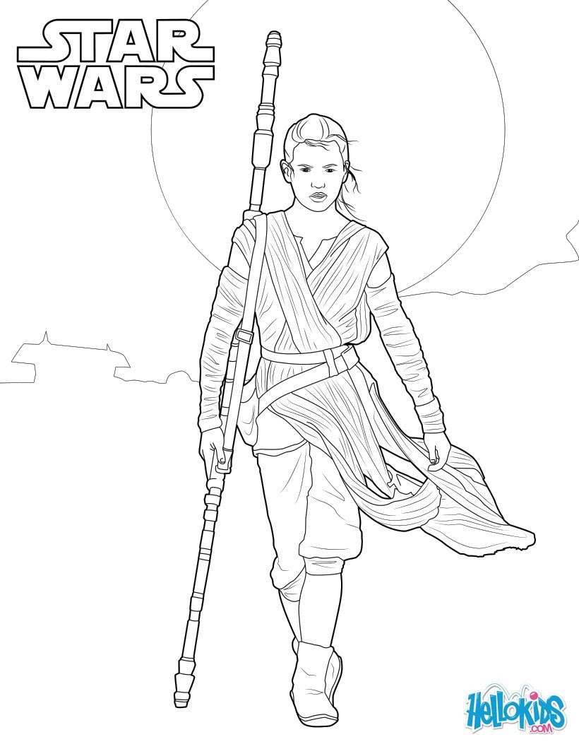 Star Wars Rey Coloring Pages Hellokidscom