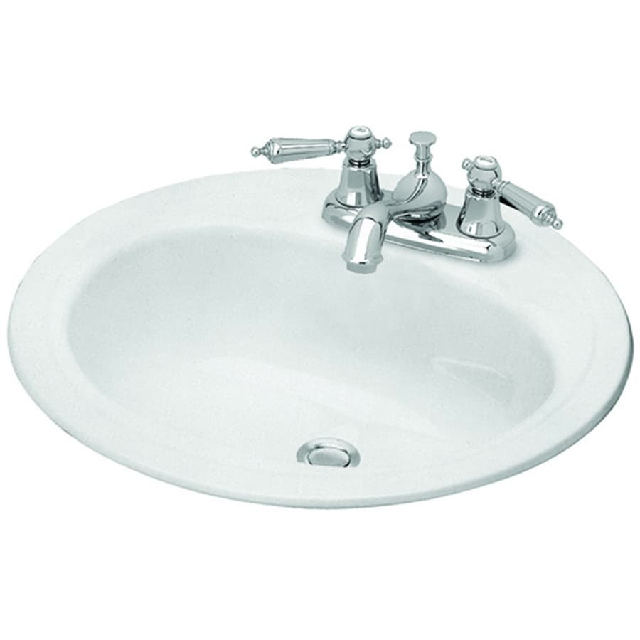 Briggs White Enameled Steel Drop In Round Bathroom Sink With Overflow Drain 19 In X 19 In In The Bathroom Sinks Department At Lowes Com