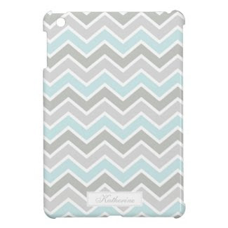 Blue and Gray Zigzag Chevron Pattern Cover For The iPad Mini