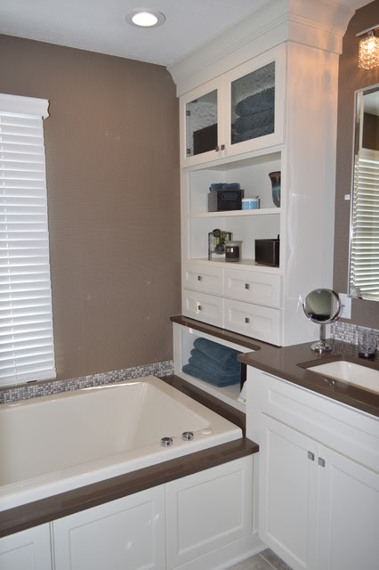 Master Bath in White and Gray - traditional - bathroom - cleveland ...