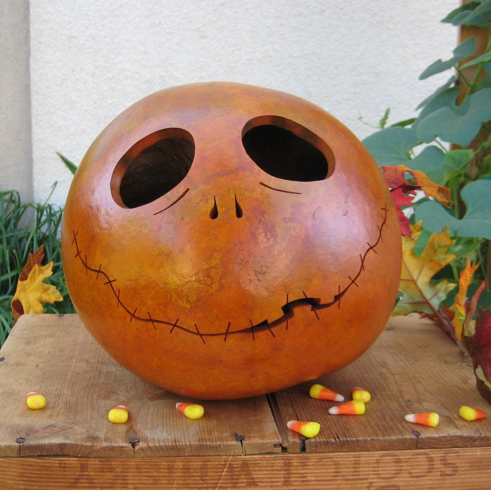 Gourd Halloween Jack-O-Lantern Orange Pumpkin Carved Spooky Decoration (inspired by Tim Burton)