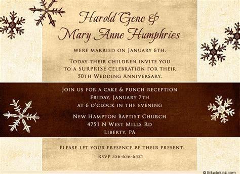 anniversary invitations 50th   Snowy Surprise 50th