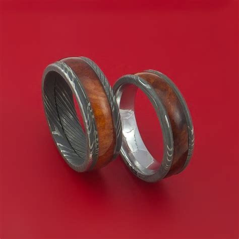 Matching Set Heritage Brown Hard Wood Damascus Steel Ring