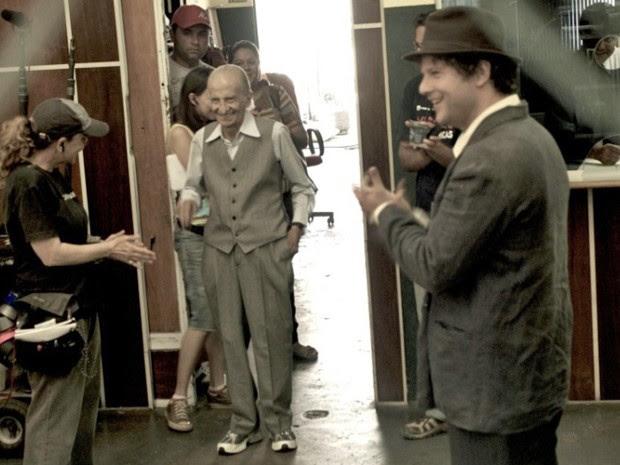 Jorge Loredo e Selton Mello no set de 'O palhaço' (Foto: Divulgação)