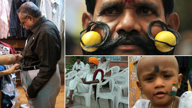 Clockwise from left: Overweight man, man with limes in his moustache, baby girl, men on plastic chairs