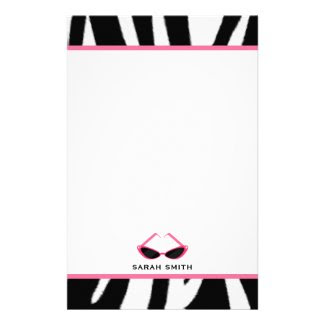 Zebra Print & Retro Pink Sunglasses Stationery Design