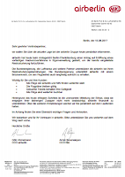 Aktuelle Situation bei Air Berlin - vorläufiges Insolvenzverfahren