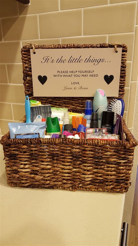 Gender specific bathroom amenity baskets for the guests