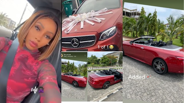 Mercy Eke adds Mercedes Benz Convertible worth over 30Million Naira to her fleet of exotic cars [Video]