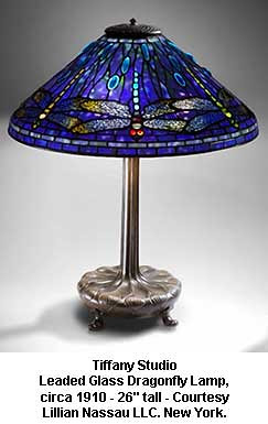 Tiffany Studio - Leaded Glass Dragonfly Lamp, circa 1910 by artimageslibrary