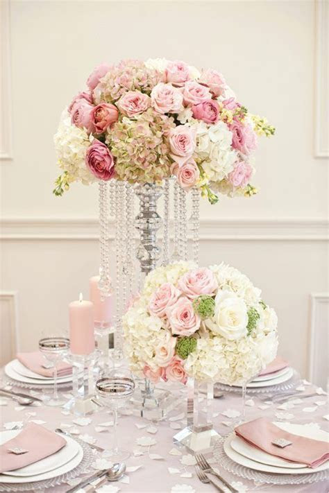 love the pink, green & cream floral arrangements and the