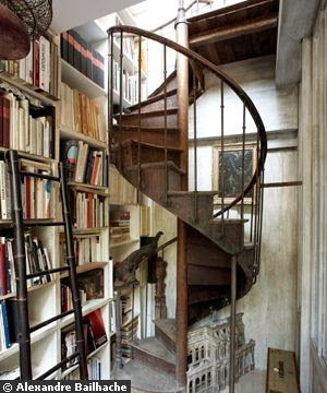The wrought iron staircase