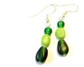 Beaded Earrings -- Green Grass Grows -- Glass Jewellery