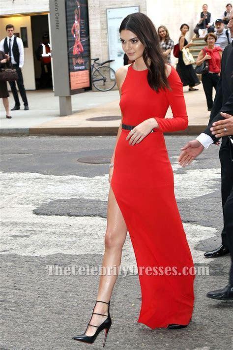 Kendall Jenner?s One Sleeve Red High Slit Dress Fragrance
