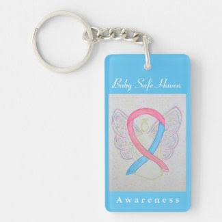 Baby Safe Haven Awareness Ribbon Angel Keychain