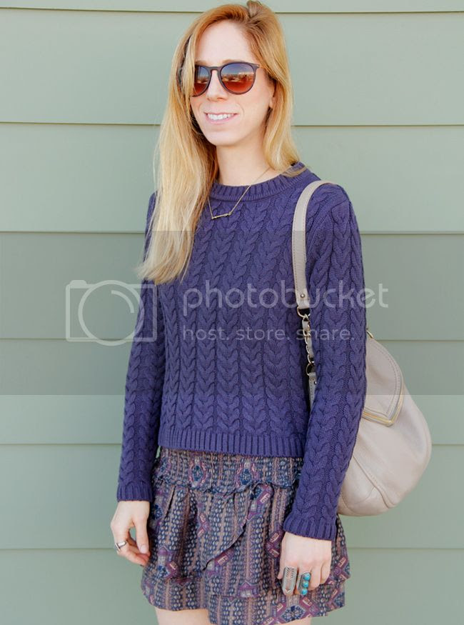 Cotton On cable knit sweater with Forever 21 boho babe skirt and Kate Spade Cobble Hill Penny bag