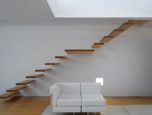 Model tangga kayu minimalis tanpa railing