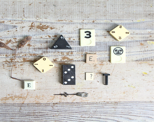 Vintage Game Piece Collection / Supplies, Ephemera, Halloween Decor, Black and White - ethanollie