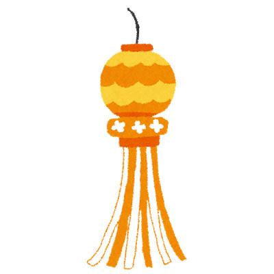 フリー素材 オレンジ色の七夕飾りを描いたフリーイラスト七夕祭りの