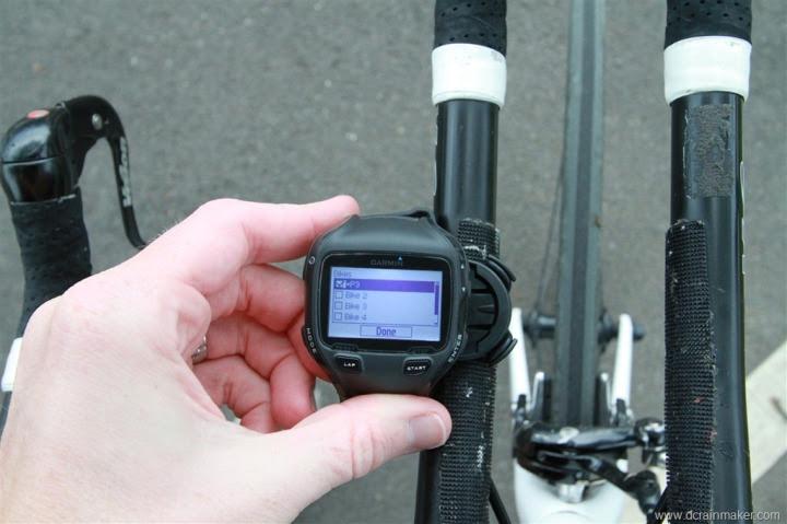 Garmin FR910XT Multiple Bike Selection