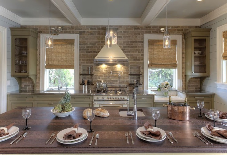 Brick Kitchen Backsplash - Cottage - kitchen - Herlong & Associates