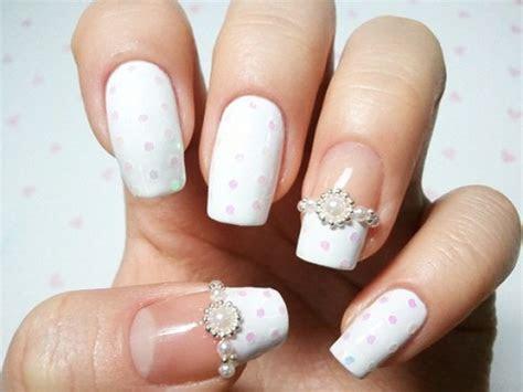 cool and stylish white french manicure style bridal nail