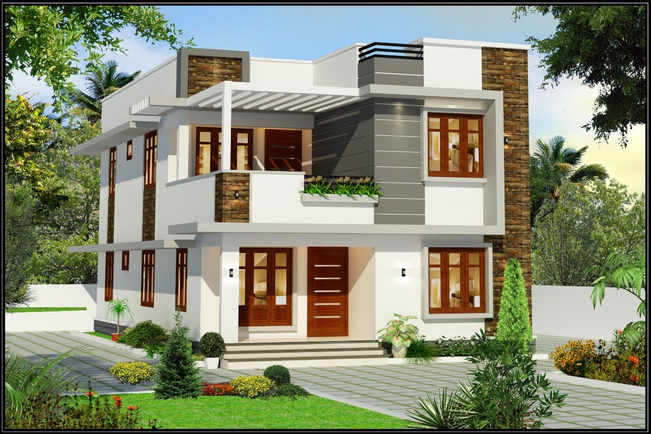 1960 Square Feet 4 Bedroom Contemporary Flat Roof Modern ...