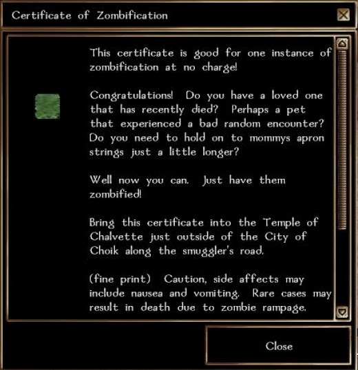 Certificate of Zombification