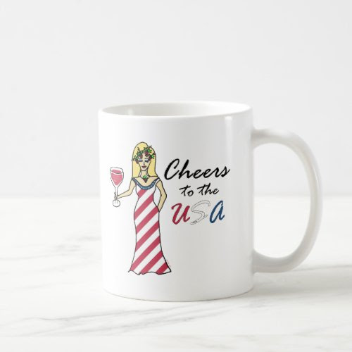 Patriotic Wine Goddess Cheers to the USA Ceramic Coffee Mug