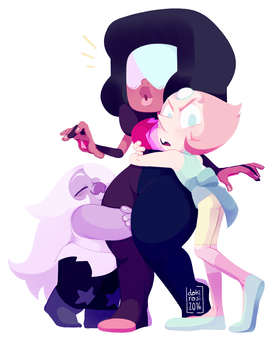 "Some Polygems lovin' ""OUR garnet is clearly the superior one"" This time I don't have much to say, but Amethyst has the perfect height to hug that thigh and ""Three Gems and a Baby"" gave me those always..."